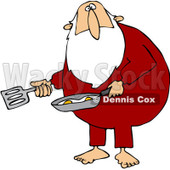 Royalty-Free (RF) Clipart Illustration of a Chubby Santa Cooking Eggs In His Pajamas © djart #80505