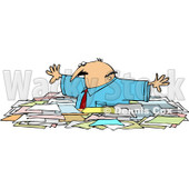 Royalty-Free (RF) Clipart Illustration of a Caucasian Businessman Wading Through Chest High Paperwork © djart #81525