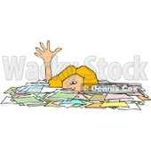 Royalty-Free (RF) Clipart Illustration of a Caucasian Businesswoman Reaching Up While Drowning In Paperwork © Dennis Cox #81527