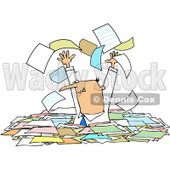 Royalty-Free (RF) Clipart Illustration of a Stressed Manager Standing Chest High In Paperwork, Tossing Pages Into The Air © djart #81529
