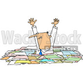 Royalty-Free (RF) Clipart Illustration of a Caucasian Businessman Holding His Arms Up And Standing In Chest High Paperwork © Dennis Cox #81530