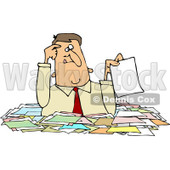Royalty-Free (RF) Clipart Illustration of a Confused Caucasian Businessman Holding Up A Paper While Wading Chest High In Paperwork © Dennis Cox #81531