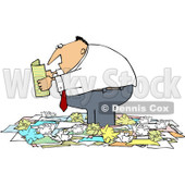 Royalty-Free (RF) Clipart Illustration of a Chubby Businessman Standing In A Pile Of Crumpled Papers And Reading © djart #81996