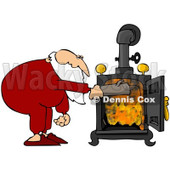 Royalty-Free (RF) Clipart Illustration of Santa In His Pjs, Inserting A Log Into His Wood Stove © Dennis Cox #82392