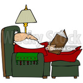 Royalty-Free (RF) Clipart Illustration of Santa In His Pajamas, Reading And Resting With His Feet Up In A Chair © Dennis Cox #82393