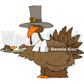 Royalty-Free (RF) Clipart Illustration of a Pilgrim Turkey Holding A Plate Of Mashed Potatoes © djart #82579