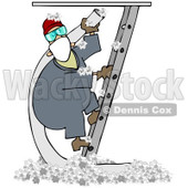 Royalty-Free (RF) Clipart Illustration of a Worker Man Climbing A Ladder And Holding An Insulation Hose, Insulation On The Floor Below © Dennis Cox #82625