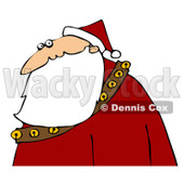 Royalty-Free (RF) Clipart Illustration of a Profile Of Santa In A Red Suit And Hat, His Long Beard Flowing Over A Sash Of Bells © djart #82626