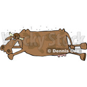 Royalty-Free (RF) Clipart Illustration of a Swarm Of Flies Around A Stinky Dead Brown Cow © djart #82831