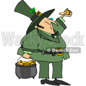 Royalty-Free (RF) Clipart Illustration of a St Patrick's Day Leprechaun Inspecting A Gold Coin And Carrying A Pot Of Gold © Dennis Cox #83022