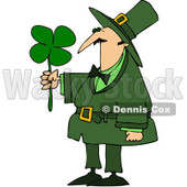 Royalty-Free (RF) Clipart Illustration of a Leprechaun Guy Admiring A Four Leaf Clover © Dennis Cox #83477