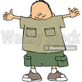 Royalty-Free (RF) Clipart Illustration of a Boy Holding Open His Arms To Gesture The Size Of Something Big © Dennis Cox #83480