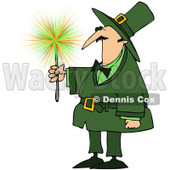 Royalty-Free (RF) Clipart Illustration of a Leprechaun Guy Holding A Sparkler © Dennis Cox #83482