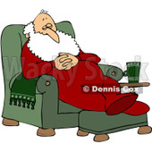 Royalty-Free (RF) Clipart Illustration of Santa Slumbering In A Comfy Green Recliner © djart #83483