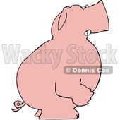 Royalty-Free (RF) Clipart Illustration of a Mad Pink Pig Standing And Facing To The Right © Dennis Cox #83888