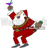 Royalty-Free (RF) Clipart Illustration of Santa Dancing And Drinking At A New Years Party © Dennis Cox #83891