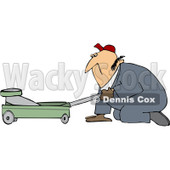 Royalty-Free (RF) Clipart Illustration of a Worker Man Kneeling And Using A Floor Jack © Dennis Cox #83893