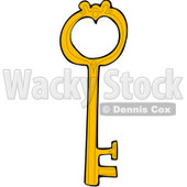 Royalty-Free (RF) Clipart Illustration of a Yellow Skeleton Key With A Heart Shaped Hole © djart #83894