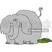 Royalty-Free (RF) Clipart Illustration of a Gray Elephant Grinning After Pooping, With Flies © Dennis Cox #83895