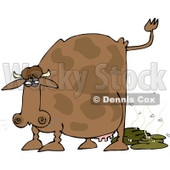 Royalty-Free (RF) Clipart Illustration of a Brown Cow Pooping, With Flies © Dennis Cox #83897