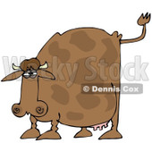 Royalty-Free (RF) Clipart Illustration of a Brown Cow Holding His Tail Up And Preparing To Poop © djart #83898