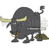 Royalty-Free (RF) Clipart Illustration of a Gray Bull Pooping, With Flies © Dennis Cox #83899