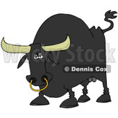 Royalty-Free (RF) Clipart Illustration of a Tough Black Bull With A Nose Ring © Dennis Cox #83900