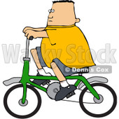 Royalty-Free (RF) Clipart Illustration of a Chubby Caucasian Boy Riding A Green Bicycle © Dennis Cox #83901