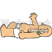 Royalty-Free (RF) Clipart Illustration of a Caucasian Baby In A Diaper, Laying On Its Back, Sucking On A Pacifier And Waving © djart #84481