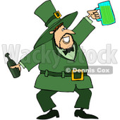 Royalty-Free (RF) Clipart Illustration of a Jolly Leprechaun Holding A Beer Bottle And Mug © Dennis Cox #84482