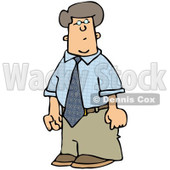 Royalty-Free (RF) Clipart Illustration of a Confused Businessman In A Blue Shirt And Khakis © djart #84884