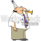 Royalty-Free (RF) Clipart Illustration of a Caucasian Businessman Blowing A Party Horn And Wearing A Hat © Dennis Cox #84885