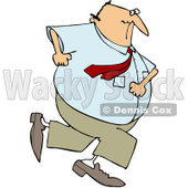 Royalty-Free (RF) Clipart Illustration of a Chubby Caucasian Businessman Running Away © djart #84886