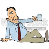 Royalty-Free (RF) Clipart Illustration of a Businessman Sitting On The Ground And Holding Up A Tea Cup © Dennis Cox #84887