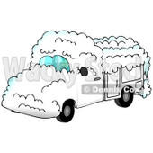 Royalty-Free (RF) Clipart Illustration of a Man Driving A White Utility Truck Covered In Snow © djart #84889