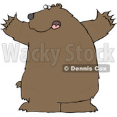 Royalty-Free (RF) Clipart Illustration of a Large Brown Bear Holding His Arms Out © Dennis Cox #84892