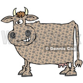 Royalty-Free (RF) Clipart Illustration of a Brown Polka Dot Cow Grinning © Dennis Cox #84894