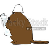 Royalty-Free (RF) Clipart Illustration of a Big Brown Beaver Reading Blueprints And Wearing A Hardhat © Dennis Cox #84895