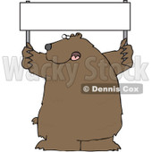 Royalty-Free (RF) Clipart Illustration of a Large Brown Bear Holding Up A Blank Sign © Dennis Cox #84896