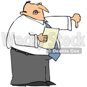 Royalty-Free (RF) Clipart Illustration of a Disappointed Male Boss Holding A Piece Of Paper And Holding His Thumb Down © djart #85052