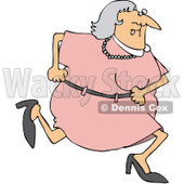 Royalty-Free (RF) Clipart Illustration of a Granny Running In A Pink Dress © djart #85053
