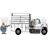 Royalty-Free (RF) Clipart Illustration of a Distracted Man Texting On His Cell Phone While Directing A Utility Truck To Back Up © Dennis Cox #85055