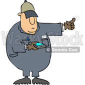 Royalty-Free (RF) Clipart Illustration of a Distracted Texting Worker Man Using His Finger To Direct A Driver While Backing Up © djart #85056