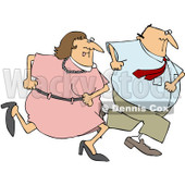 Royalty-Free (RF) Clipart Illustration of a Man And Woman On The Run Together © djart #85659