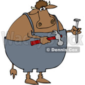 Royalty-Free (RF) Clipart Illustration of a Carpenter Cow Holding A Hammer And Nail © Dennis Cox #85660