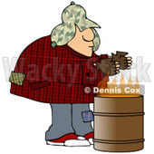 Royalty-Free (RF) Clipart Illustration of a Homeless Man Warming His Hands Over A Trash Can Fire © djart #85661