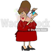 Royalty-Free (RF) Clipart Illustration of a Chubby Brunette Woman Spritzing On Perfume © djart #86482