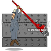 Royalty-Free (RF) Clip Art Illustration of a Worker Man Hanging From A Monkey Wrench While Tightening A Wall Of Nuts © Dennis Cox #86483