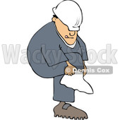 Royalty-Free (RF) Clipart Illustration of a Caucasian Worker Man Putting A Cover On Over His Boot © djart #86484