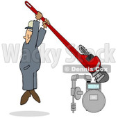 Royalty-Free (RF) Clipart Illustration of a Man Hanging From A Giant Monkey Wrench While Tightening A Gas Meter © djart #86485